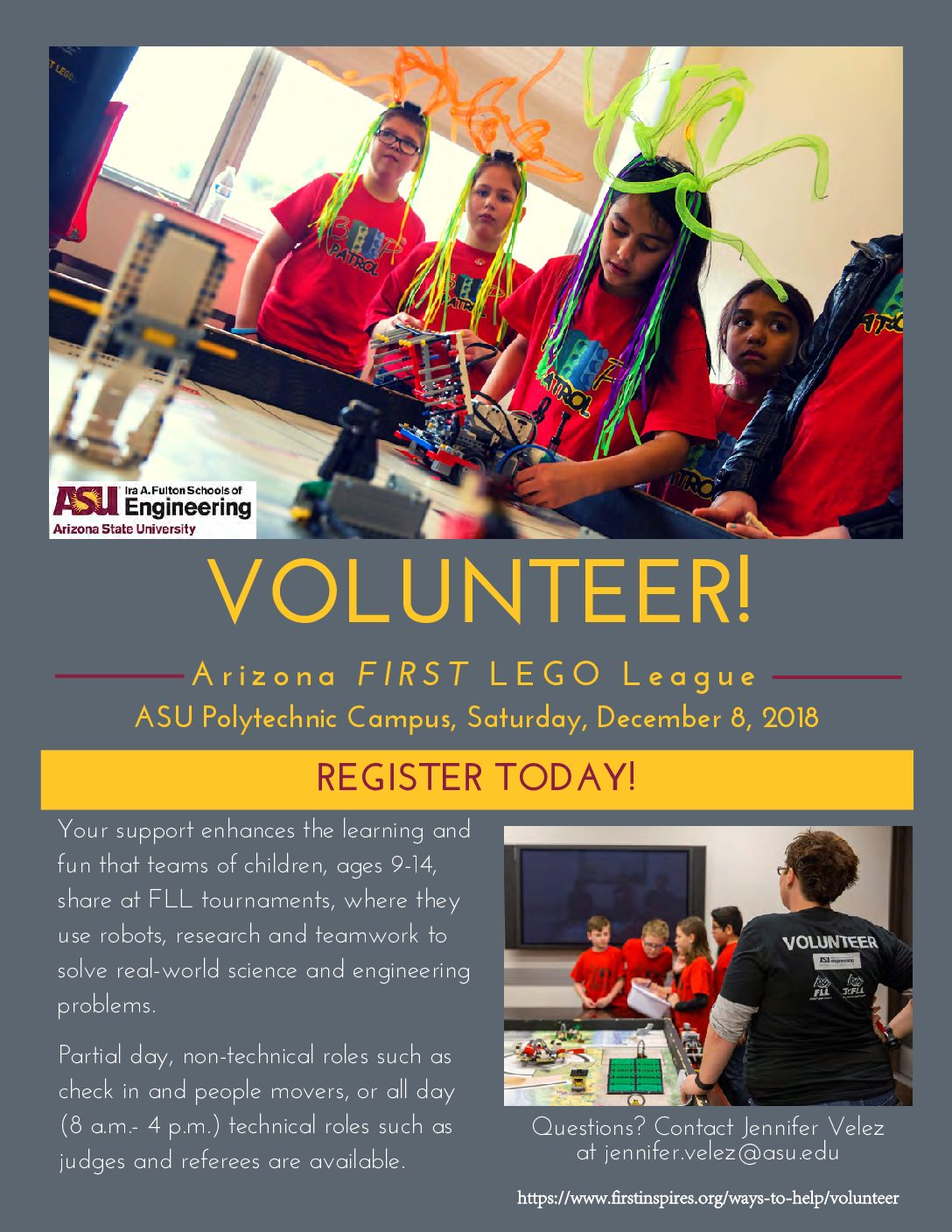 Volunteer for First Lego League, December 8