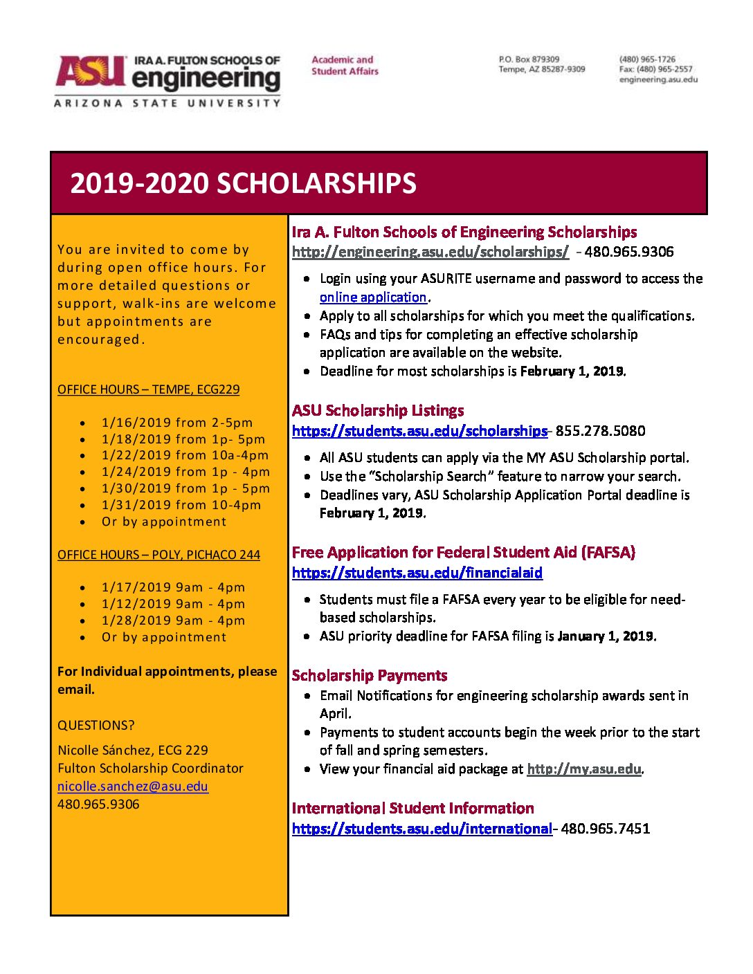 Asu Financial Aid >> Apply For The 2019 2020 Scholarships Fulton Student